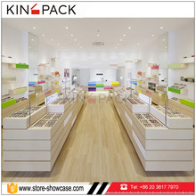 latest design optical shop display furniture wood and glass display showcase
