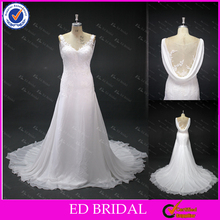 LN29 Sexy See Through Back Lace Applique V Neck Cowl Drop Back A Line New Pattern Real Sample Chiffon Wedding Dress