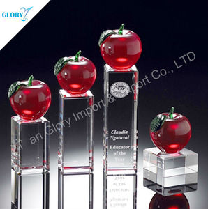 Engraving Red Apple Mounted 3D laser Cube Crystal Showpieces