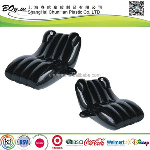 Testing factory OEM air pool floating beach pvc lounger chair black inflatable s shape sofa