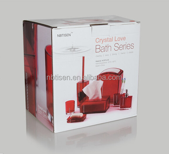 Acrylic plastic crystal bathroom accessories set ts8002 7 for Clear bathroom accessories