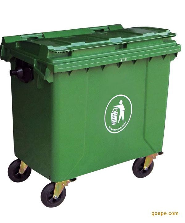 manufacture price 1100L large dustbin standard size garbage bin with rubber wheel and foot pedal