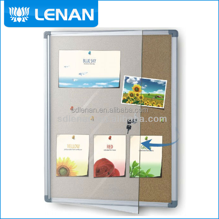 Full color customize excellent cork surface show case office notice board design with nail install struct