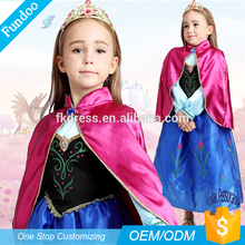 Wholesale Halloween Party Florid Frozen Fever Anna Elsa Pricness Children Costume