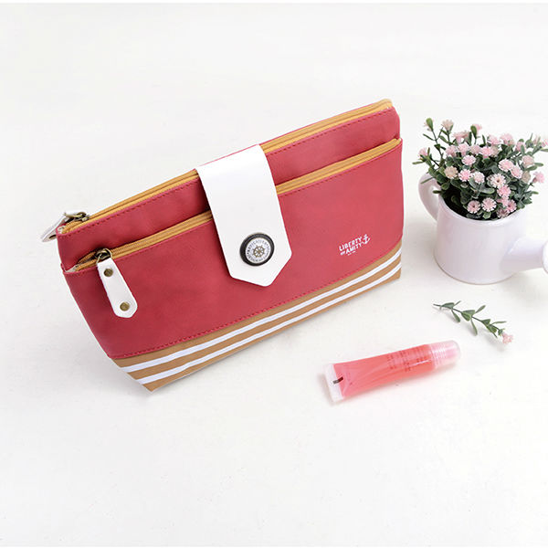 Languo nautical style leather make up case/cosmetic case with red color in high quality model:LGLS-2573