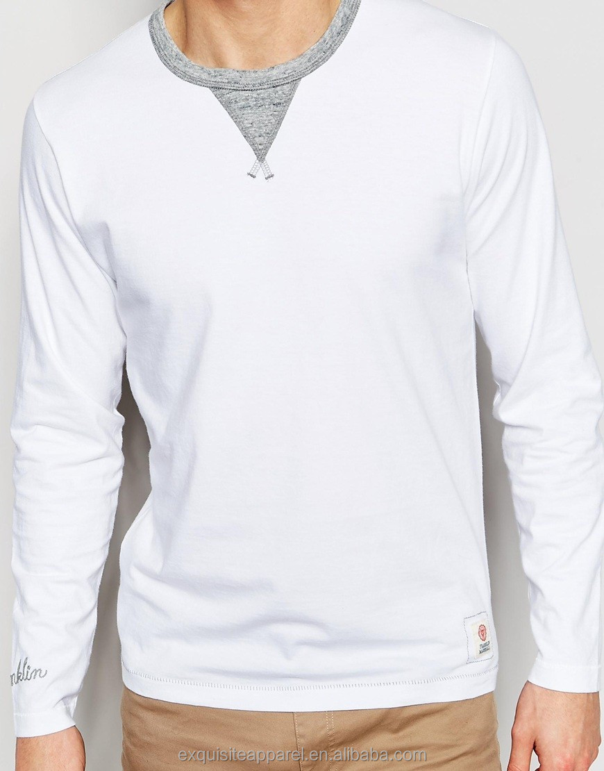 Long Sleeve Spring White t shirt for Men rib neck Jersey t shirt Solid color Tight fit Mens Long Sleeve T shirt