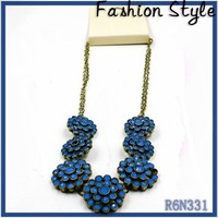 handmade big brand shourouk original necklace with natural acrylic blue stone for woman 2015 statement party wear