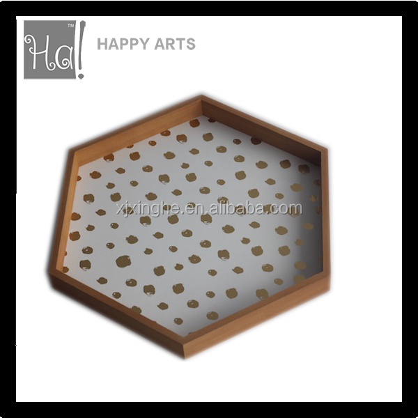 custom printed wood serving tray in hexagon shape natural color