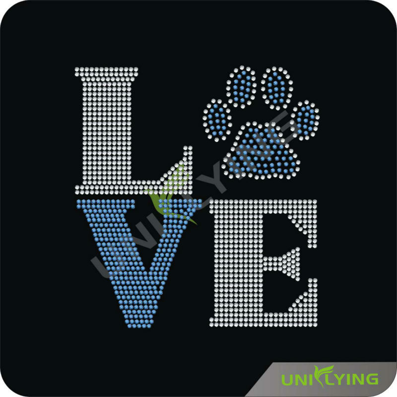 Love paw hot fix rhinestone transfer