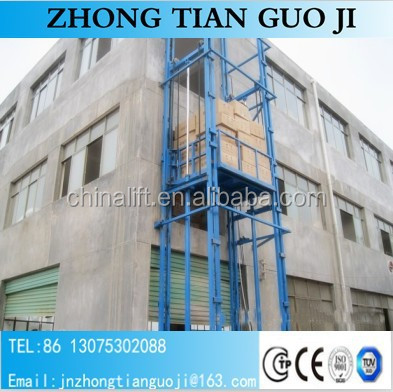 CE certification vertical hydraulic guide rail goods lift freight elevator price