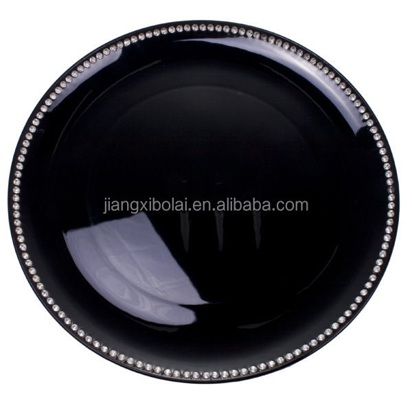 Wholesale wedding glossy black round beaded plastic charger plates