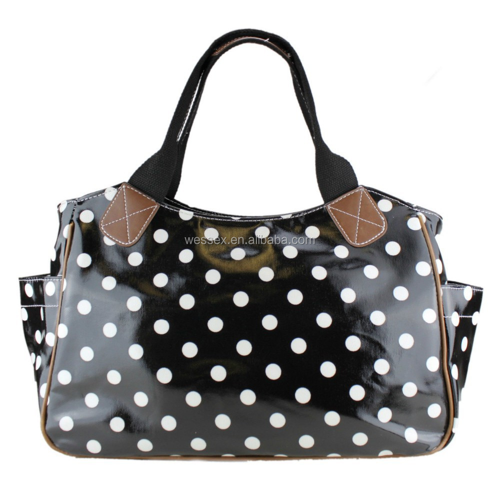 Spot Polka Dot Oilcloth Women's Handbags Waterproof Canvas Tote Bag Cotton Webbing Lady's Bags