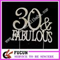 New styles 30 fabulous silver rhinestone cake topper for cake decoration
