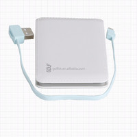 New Electronics Built-in Micro USB cable 5000mah power bank charger, polymer battery power bank with Micro charging cable