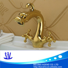 Luxury graceful dragon brass faucet bathroom dual handle gold basin faucet