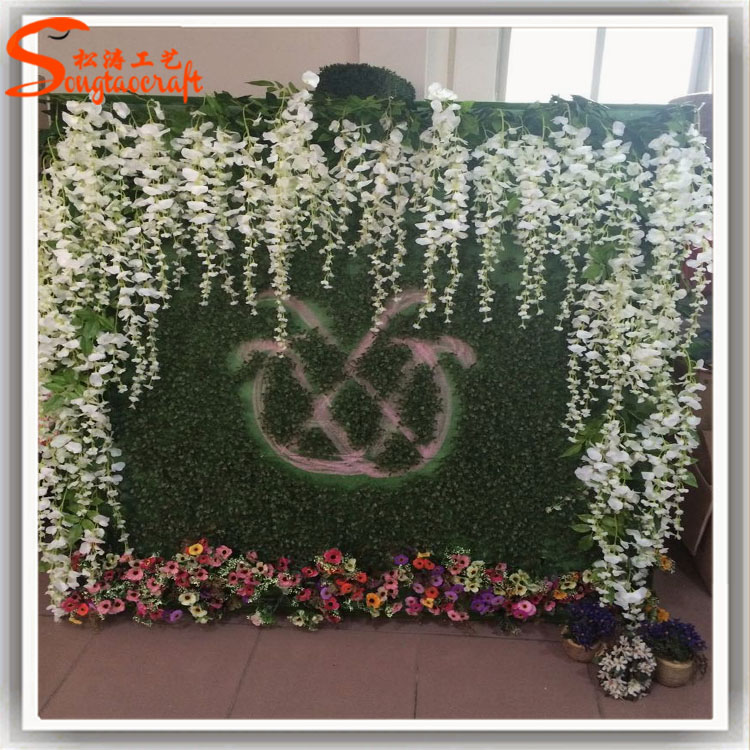 New style wedding ornaments artificial metal flower wall for Artificial grass indoor decoration