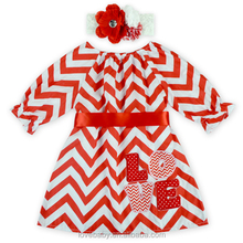 Red And White Chevron Satin Girls Summer Dress With Ribbon Waistband Love Valentines' Day 3/4 Sleeve Dress For Girls Baby