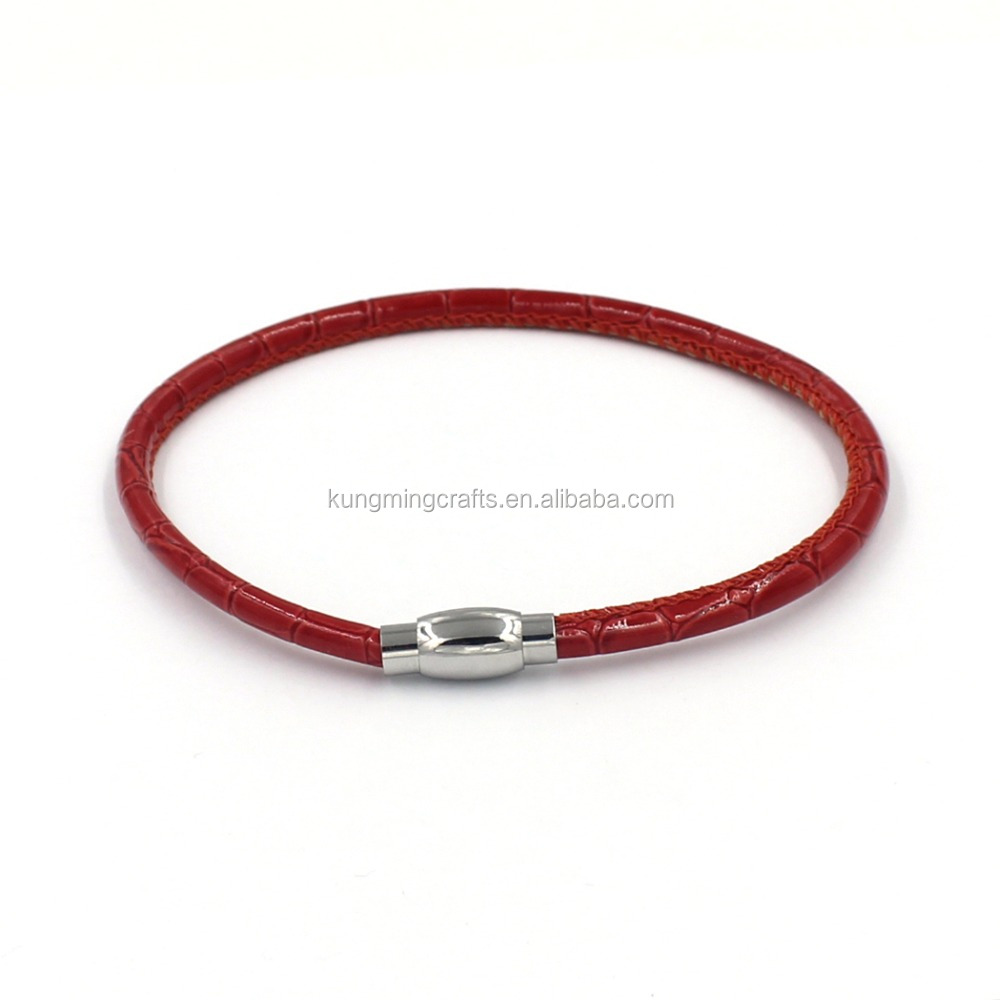 2017 Hot Sale Customized Stainless Steel Magnetic Clasp Leather Bracelet