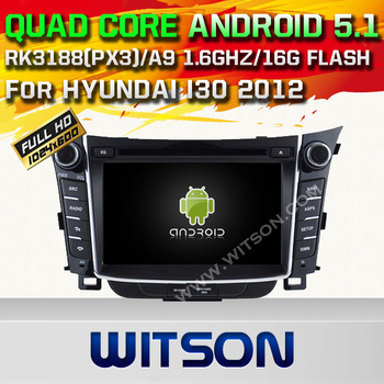 WITSON Android 5.1 CAR DVD GPS For HYUNDAI I30 2012 WITH CHIPSET 1080P 16G ROM WIFI 3G INTERNET DVR SUPPORT