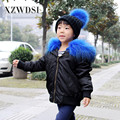 CX-G-C-08A Custom Kids Winter Real Raccoon Fur Collar Hooded Bomber Jackets