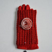 2015 Cheap Red Wool Gloves,Double-layer Acrylic and Wool Gloves with Fur Lining