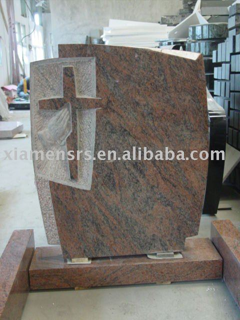 multi color red granite gravestone