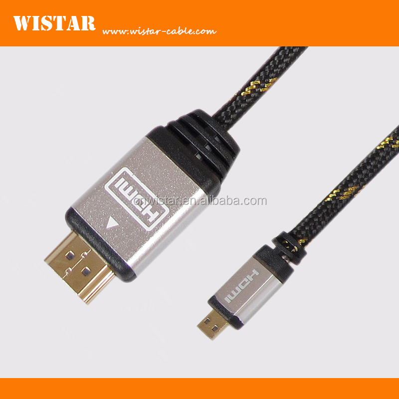 WISTAR D type 2.0v hdmi to micro hdmi cable, male to male plastic slim hdmi cable