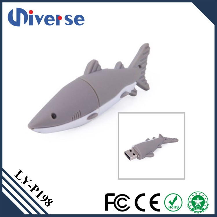 Creative OEM/ODM Lovely Shark 16gb USB 2.0 3.0 Soft PVC Thumb Drive