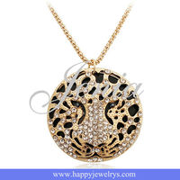 Yellow Gold Tiger Head Pendant Necklace Jewel KC924-2