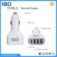 High eff 3 port USB car charger 42W 9V 12V with USB 3.0 Type C port output for iPhone iPad Samsung
