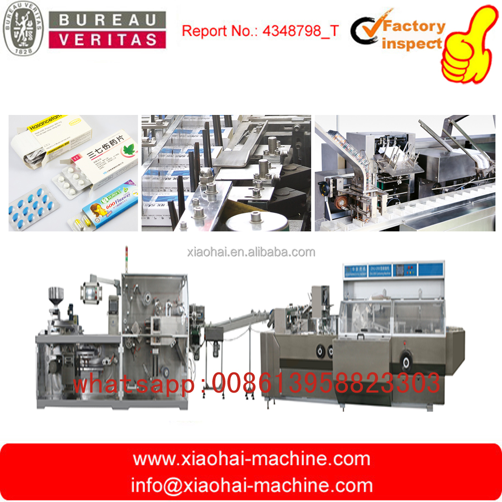 HAS VIDEO Chewing Gum , Milk Tablet Alu Pvc Blister Packing Into Cartoning Machine