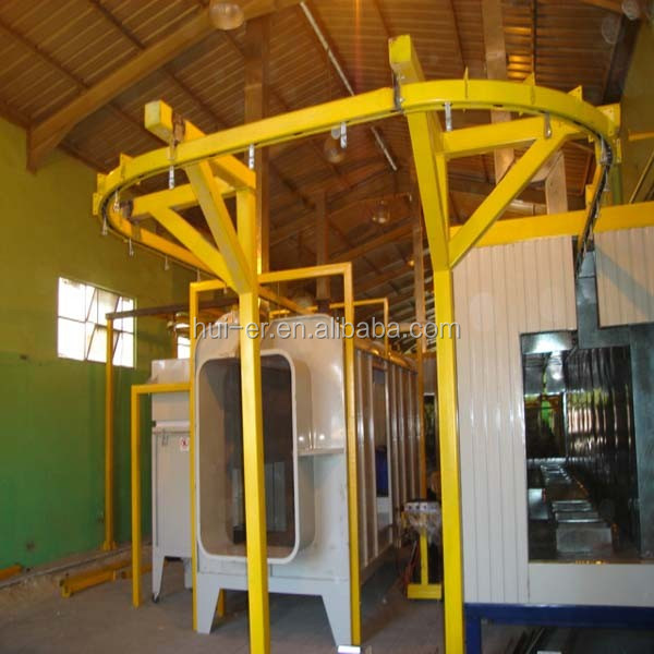 Powder coating line for metal parts