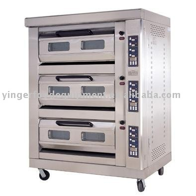 Micro-computer triple-layer six-tray gas oven