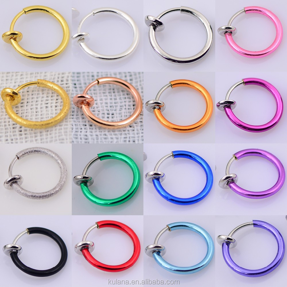 10 mm Wide Body Piercing Jewelry Indian Nose Ring Gold Plated Fake Body Jewelry for Sale