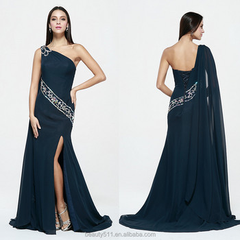 New style sexy Appliqued one-shoulder empire sheath chiffon mother of the evening dress one Shoulder prom grown 2017
