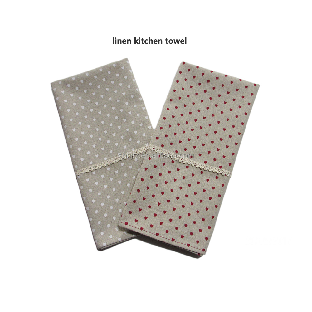 linen tea towels small heart printing kitchen towels set of 2pcs