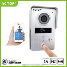 2015 new design wireless door bell hidden camera supports two way intercom and remotely unlock door