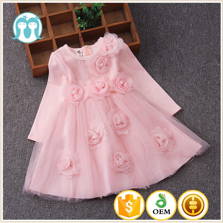 2017 New Style Winter Fall Baby Girls Pink Princess Flower Party ...