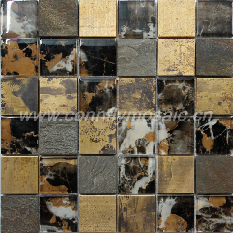 Glass, Stone and Copper Mixing Mosaic Tile
