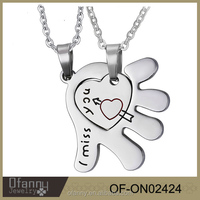 Valentine's Day gifts heart In her hand i miss you couple i love you to the moon and back necklace