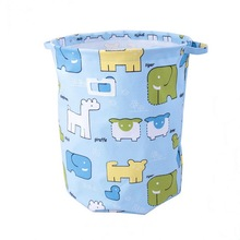 Custom printed cotton canvas clothes storage box with handles/mutipurpose foldable toy storage bucket