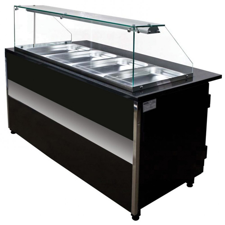 luxury glass metal wood food service counter for restaurant