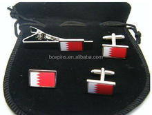Bahraini flag cufflinks tie pin badge set in gift box wholesale
