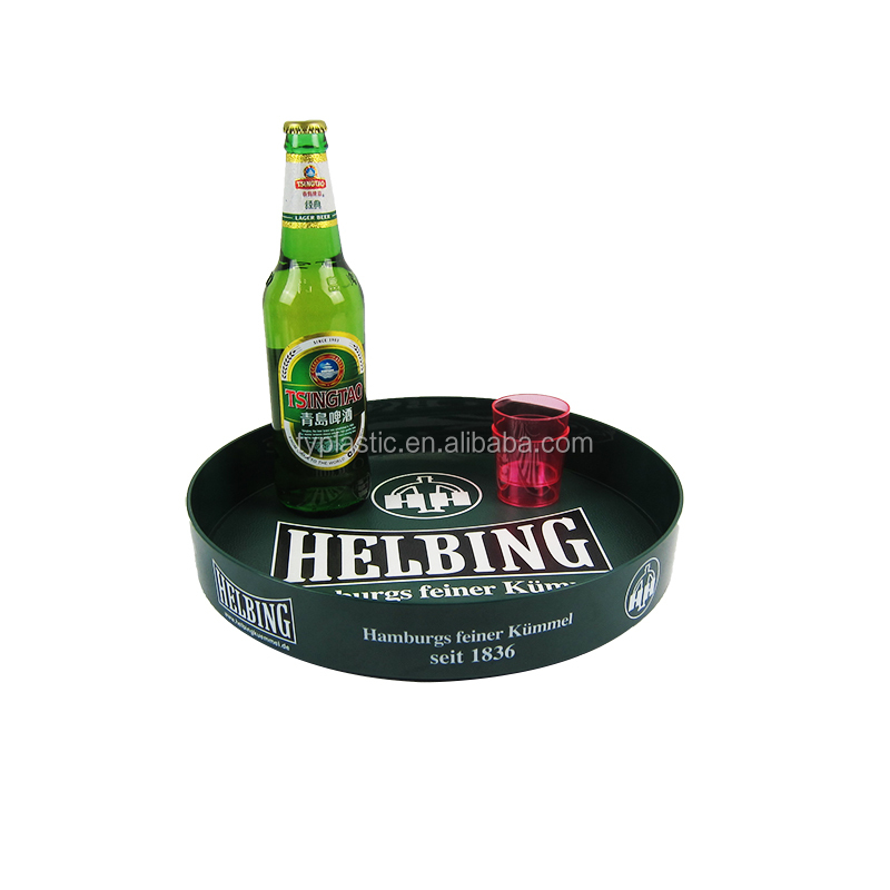 plastic anti-slip serving tray round bar beer tray Dia.32cm