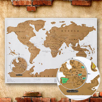 High Quality Portable Travel Scratch Off Paper World Map