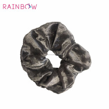 Wholesale hair accessories velvet scrunchy with ball chain trim
