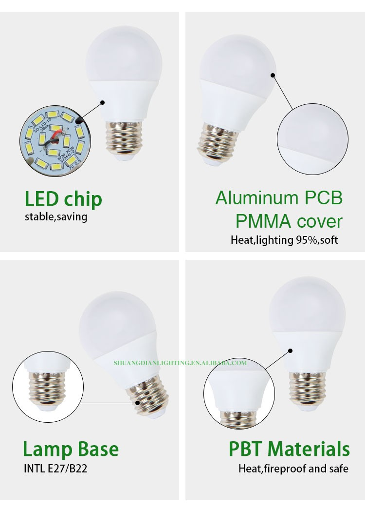 3w led smd 2835 plastic bridgelux epistar led bulb