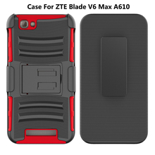 Hot 3 in 1 PC TPU Combo Hard Kickstand Belt Clip Mobile Phone Case Cover For ZTE Blade V6 Max A610