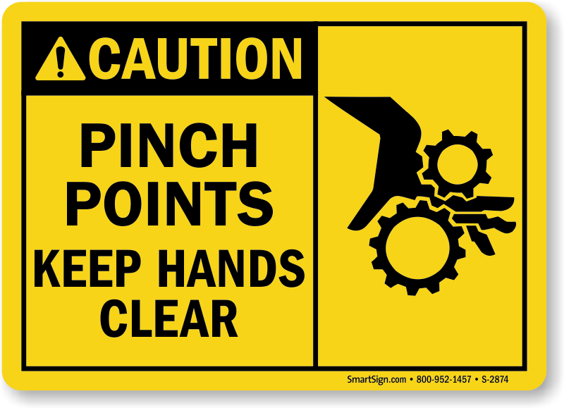 High quality Caution Pinch Point Hazard. Keep Hands Clear Surface Mount machine Safety signs caution board
