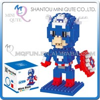 Mini Qute 3d Marvel Avenger Super hero Captain America plastic building block cartoon movie model educational toy NO.BY 8144A